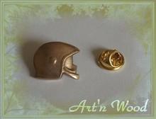 bijou pour homme pin`s casque de pompier F1 bronze doré personnalisable - Art`n Wood: cadeaux artisanaux