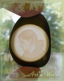 bijou sculpté d`après photos, lithophannie en ivoire végétal - Art`n Wood: créatrice de bijoux, sculptures, cadeaux artisanaux personnalisés