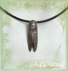 bijou artisanal grande cigale fini argent vieilli, collier pendentif - Art`n Wood: créatrice de bijoux, sculptures, cadeaux personnalisés