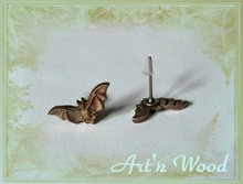 boucles d`oreille chauve-souris, bijou artisanal en bronze massif - Art`n Wood: créatrice de bijoux, sculptures et cadeaux personnalisés made in France