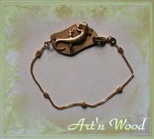 bracelet personnalisable bijou salamandre bronze doré - Art`n Wood: bijoux artisanaux, sculptures, cadeaux eco-responsables