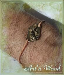bijou pour homme bracelet salamandre n bronze blanc et cuir naturel - Art`n Wood: bijoux artisanaux, sculptures et cadeaux en matières naturelles