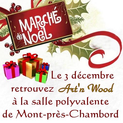 Marché de Noël artisanal d` Art`n Wood à Mont-près-Chambord, le 3 décembre 2017. Bijoux artisanaux, sculptures et cadeaux d`art personnalisés et sur-mesure.