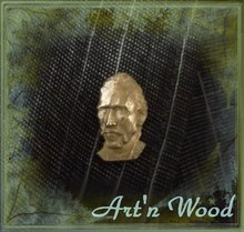 bijou homme femme, pin`s épinglette portrait sculpté du peintre Vincent Van Gogh, bronze doré - Art`n Wood: bijou artisanal, sculpture, cadeaux personnalisés en bois, bronze, os, corne, ivoire végétal